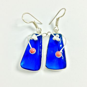 Blue Quartz and coral silver earrings