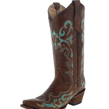 Circle G Women's Embroidered Cowgirl Boot Snip Toe - L5193