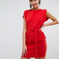 ASOS Belted Mini Dress with Split Cap Sleeve and Pencil Skirt at asos.com