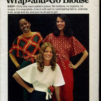 Butterick 6835 Wrap and Go Blouse Retro 70s Disco Style Shirt Pullover Butterfly Sleeve Top Size Small Bust 32