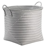 Large Round Woven Plastic Storage Basket - White and Grey - Room Essentials™