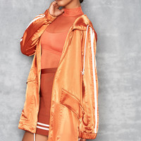 'Imagine' Orange Lightweight Satin Parka - Mistress Rocks