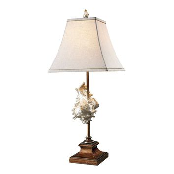 D1979 Delray Table Lamp In Conch Shell And Bronze