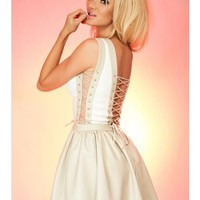 Just Unique Calypso Cream & Beige PVC Tie Skater Dress - S/S14 Edit | Koo-Ture