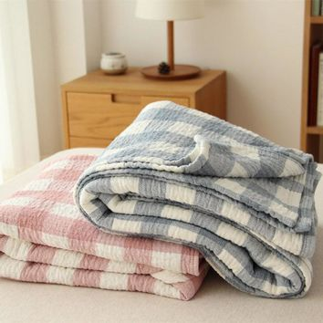 Plaid Cotton Towel Blanket Summer Thin Quilts Bedspread Plane Travel Air Conditioning Blankets Soft Throw Blankets on Sofa/Bed