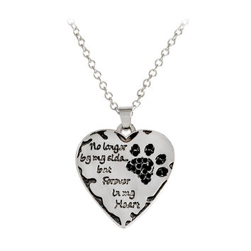 """FREE Memorial Necklace for Dog Lovers, Heart Pendant with the words, """"No Longer By My Side, But Forever in My Heart"""""""