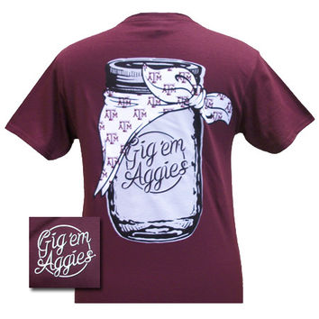 New Texas A&M Aggies Mason Jar Logo Girlie Bright T Shirt