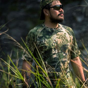 Camo Hunting Clothes Outdoor Sports Short Sleeve T-shirt  Tactical Sniper Suit  Airsoft Slingshot  Wargame Shirt