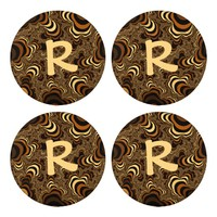 Cool brown stripped fractal. Monogram. Button Covers