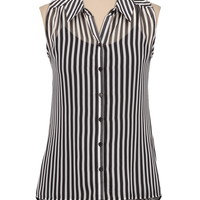Sleeveless Stripe Top with lace back