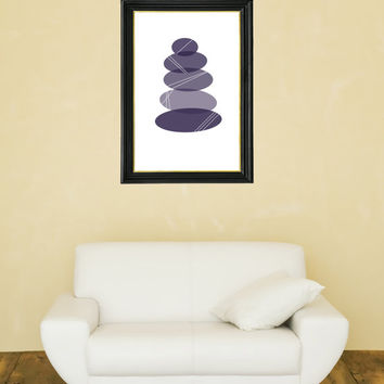 Beach Pebbles in a Pile - Beach Art - Modern Beach - Beach Stones - Purple & Grey
