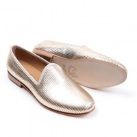 Men's Nappa Metallic Gold Disco Slipper - Slipper - Men's