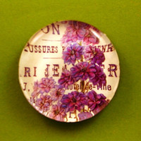 Purple Floral Mini Round Glass Paperweight Home Decor