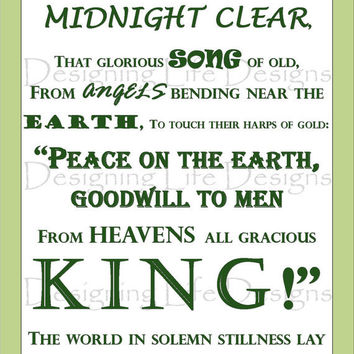 Christmas Song Wall Art - It Came Upon the Midnight Clear - Printable Artwork PDF