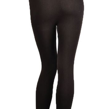 Women Soft Stretch Winter Warm Fleece Lined Waistband Leggings