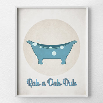 Bathroom Print, Vintage Bathroom Art, Kids Bathroom Art, Bathroom Art, Bathroom Decor, Retro Bathroom, Bathroom Wall Decor, Gray and Blue