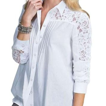 White Lace Splice Long Sleeve Button Down Shirt