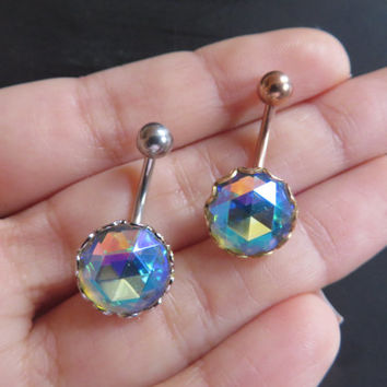 Chunky Faceted Rainbow Gem Stone Belly Button Ring Navel Jewelry Large Big Huge Gemstone Piercing Bar Barbell Stud