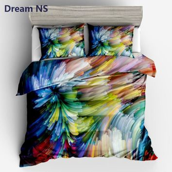 Cool AHSNME Watercolor Painting Comforter Covering Bright Rainbow Bedding Set Modern Duvet Cover US Size Queen King DropshippingAT_93_12