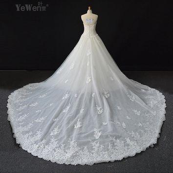 Custom Made 2017 Vestido De Noivas Appliques Lace Up Bridal Ball Gown Wedding Dresses With Detachable Train robe de mariage
