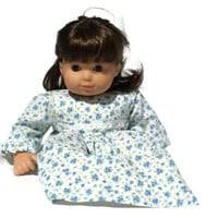 Calico Doll Dress Blue & White Floral Lace Cotton Bitty Twin Baby 14 to 16 inch Baby Doll --US Shipping Included