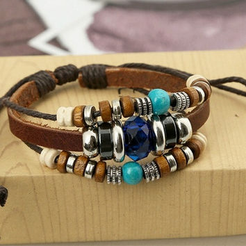 New Fashion Jewelry Rhinestone Sapphire Crystal Handmade Beaded Leather Bracelets ,Adjustable Multilayer Braided Bracelets,Vintage Charm Leather  Bracelets & Bangles ,Personality Wrap Leather Bracelet For Female Party Gifts,Genuine Leather Bijouterie Wris