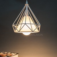 Wanunion Vintage Diamond Shape Pendant Light Geometric Edison Cage Ceiling Handi...