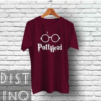 Pott Head Harry Potter inspired Tee - Screen Printed shirt Gift Ideas for him and for her Deathly Hallows Trending