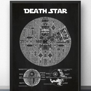 Star Wars Death Star Blueprint Wall Art Paint Prints Canvas Art Poster Oil Paintings for Living Room No Frame