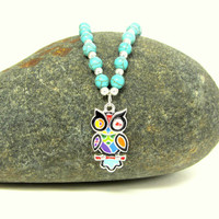 Owl Necklace Turquoise Beaded Chain