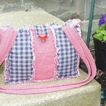 Rag Quilt Purse Red White Blue Homespun Primitive Extra Long Straps RQQ