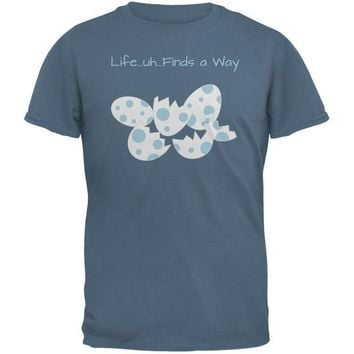 CREYCY8 Jurassic Dino Eggs Life Finds a Way Indigo Blue Adult T-Shirt