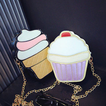 NEW Cute Fashion Lady Kids Girls Ice Crean Cupcake Cartoon Messenger Bags Shoulder Bag Hobo Purse Handbag