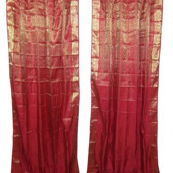 2 Indian Sari Curtains Dark Red Gold Brocade Silk Saree Drapes Window Panels, India Decor