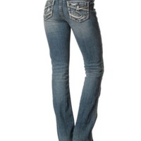 Silver Jeans Women's Medium Wash Aiko Flap Pocket Bootcut Jean