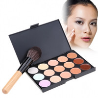New Fashion Women's Makeup Cosmetics Tools Set 15 Colors Creamy Concealer Kit And 1 Brush
