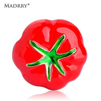 Madrry Red Enamel Pumpkin Brooches For Women Kids Gold-color Broches Corsages Lapel Pins Collar Clips Dress Suit Pin Accessories
