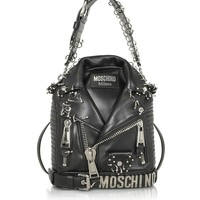 Moschino Black Leather Biker Jacket Backpack w/Piercings