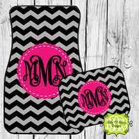Car Mats Chevron Personalized Monogrammed Floor Car Mat Initial Gray Black Pink