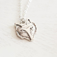 silver fox necklace, animal head necklace, wolf necklace, small fox, boho necklace, rustic woodland jewelry, friend necklace, animal jewelry