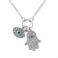 Encounter Silver Tone Evil Eye Hand of Fatima Pendant Chain Necklace with White Rhinestones Enamel 46.5cm