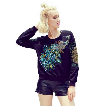 2017 Women Sweatshirts Blouses Long Sleeve Peacock Embroidery Baseball Tops Ladies Sweet Adventure Casual Crop hoodie Boho Shirt