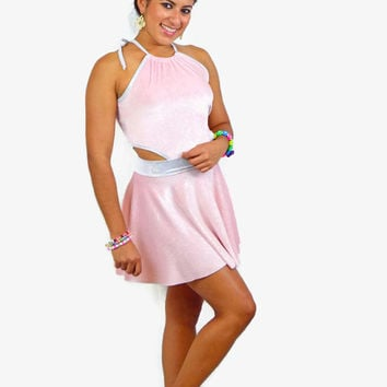 Pink glitter velvet skater dress / edc/ circle skirt / short dress / summer dress