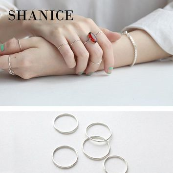 SHANICE 100% Real Pure 925 Sterling Silver Ring Minimalist Simple Smooth Glossy ring Fine Ring Thin Little finger Ring For Women