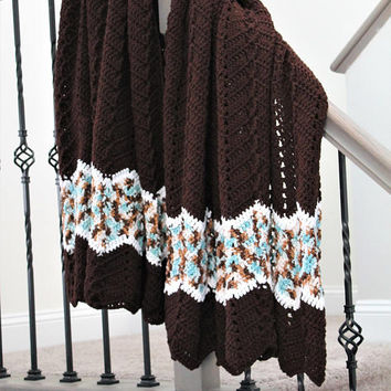 Brown Afghan Blanket - Brown Ripple Afghan - Chevron Crochet Blanket - Extra Long Blanket - Adult Blanket - Brown and Blue Throw