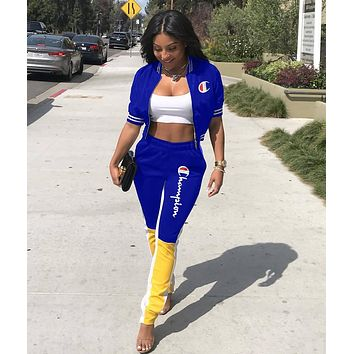 Champion Fashionable Women Casual Letter Embroidery Two-Piece Suit Blue