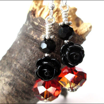 Black Rose Earrings | Womens Gothic Earrings | Red Crystal Earrings | Dangle Earrings | Women's Earrings | Lady Green Eyes Jewelry