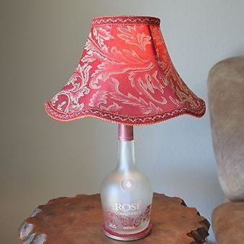 Frosted Glass Table Lamp with Red & Gold Pattern Shade