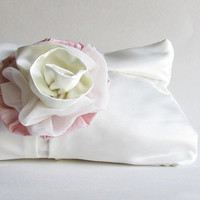 Ivory Wedding Clutch - Bridal Accessory - Pink and Ivory Flower