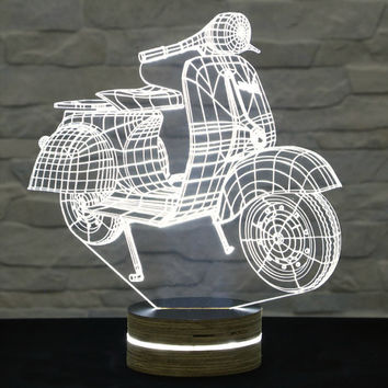 Vespa Scooter Shape, 3D LED Lamp, Home Decor, Table Lamp, Office Decor, Plexiglass Lamp, Decorative Lamp, Nursery Light, Acrylic Night Light